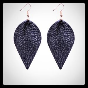 Tear shaped, Pinched Leather Earrings